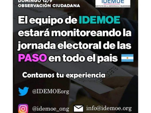 IDEMOE realizará monitoreo de las elecciones PASO 2021 en Argentina